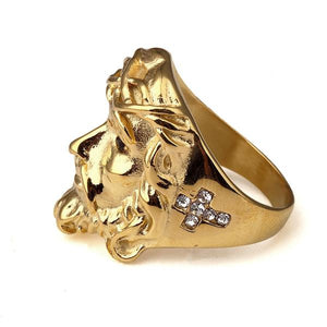 Gold Jesus Micro Diamond Ring