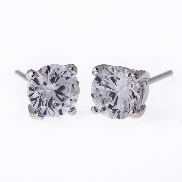 Silver Round Cut Micro Diamond Earrings
