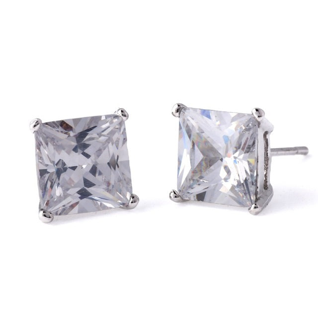 Silver Box Cut Micro Diamond Earrings