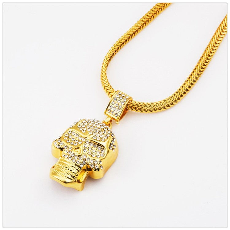 Gold Skull Rhinestone Necklace