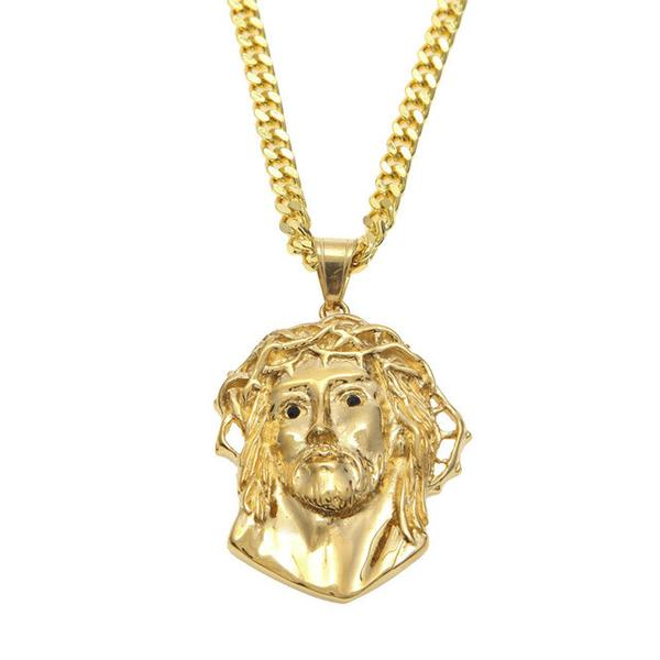 Gold Thorn Crowned Jesus Necklace