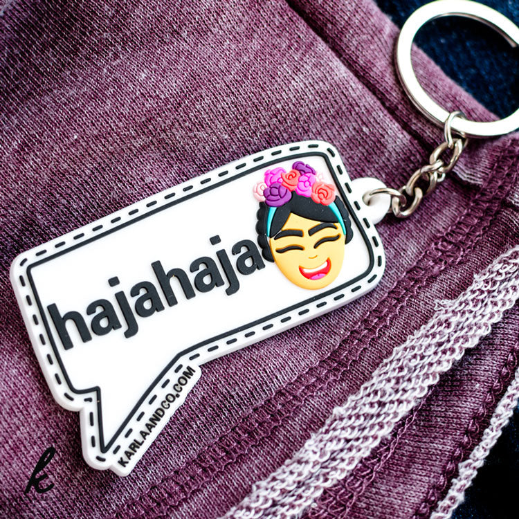 I Can Laugh in English and Spanish Keychain