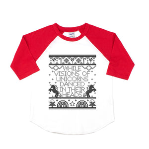 While Visions of Unicorns Danced in Their Heads Raglan Tee