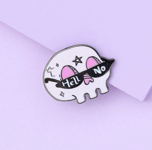 Hell No Skull Enamel Pin - That Oregon Girl