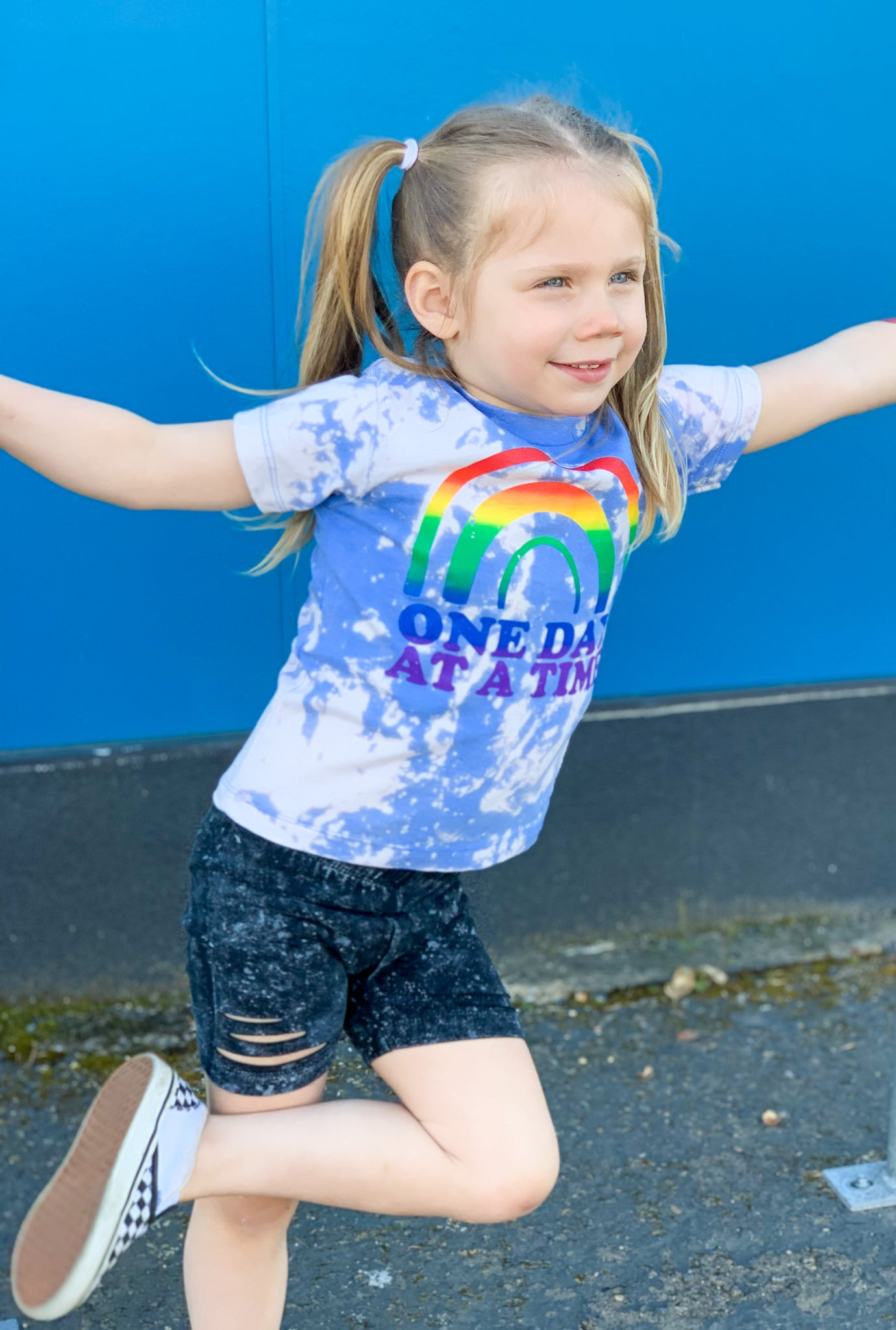 One Day At A Time Acid Washed Rainbow - Toddler/Kids Tee