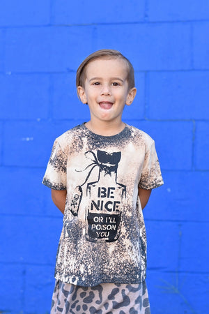 Be Nice or I'll Poison You Toddler/Kids Acid Washed Tee - That Oregon Girl
