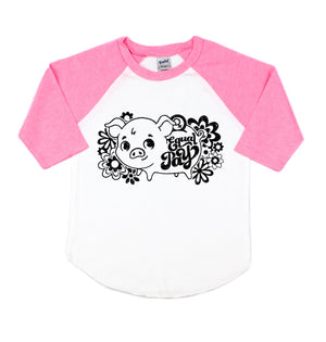 Equal Pay Piggy Bank Toddler/Kids Raglan Tee - That Oregon Girl