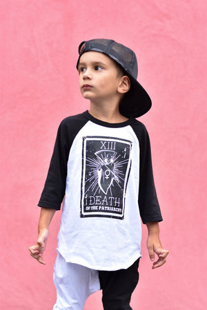 Death of the Patriarchy Toddler/Kids Unisex Raglan Tee - That Oregon Girl