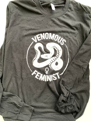 Unisex M Black Venomous Feminist Long Sleeved Tee