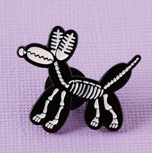 Skeleton Balloon Dog Enamel Pin - That Oregon Girl