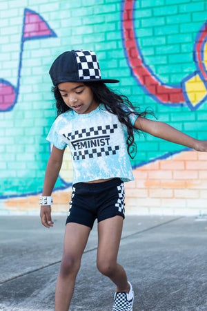 Checker Feminist Acid Washed Toddler/Kids Tee - That Oregon Girl