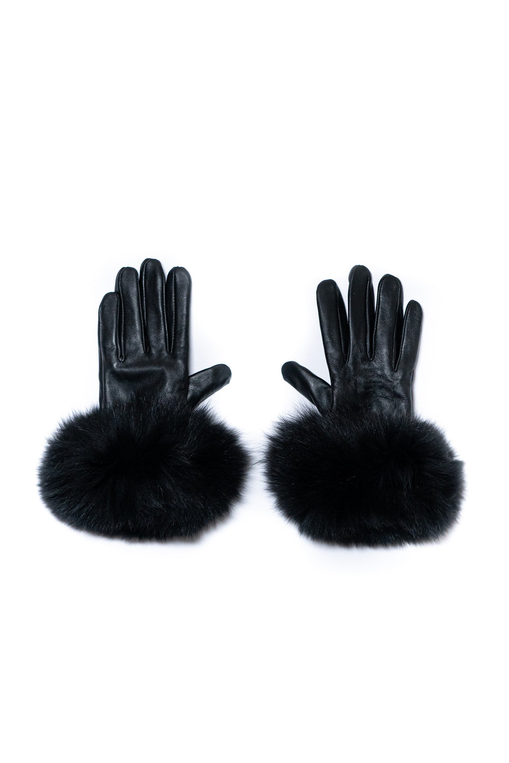 Black Leather Gloves - Pom Pom London