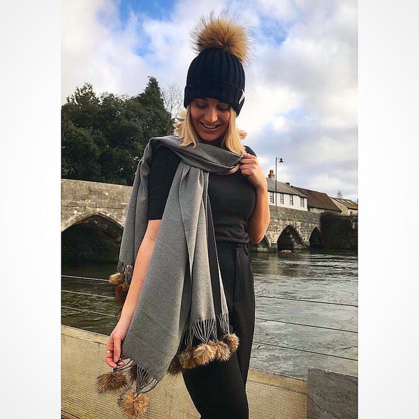 Shawl Grey | Natural Pom Pom - Pom Pom London