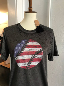 American Flag Baseball Distressed Tee