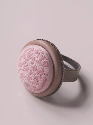 Vintage pink button ring