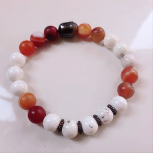 Agate and Carnelian bracelet 8 mm beads