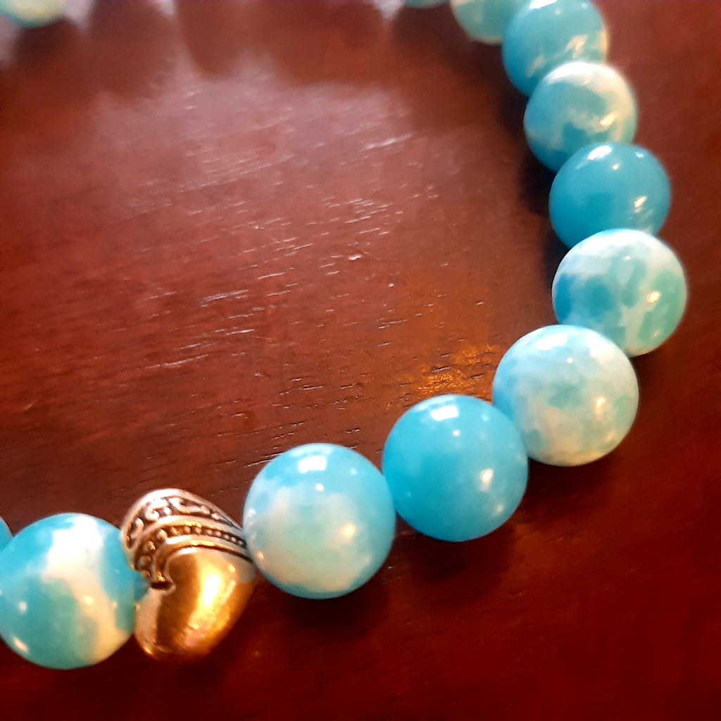 Blue waters bracelet 8 mm beads