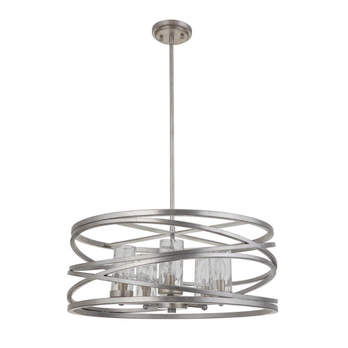 Finley 5 Light Pendant - Silver Leaf Finish