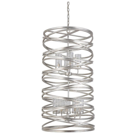 Finley 5 Light Pendant - Silver Leaf