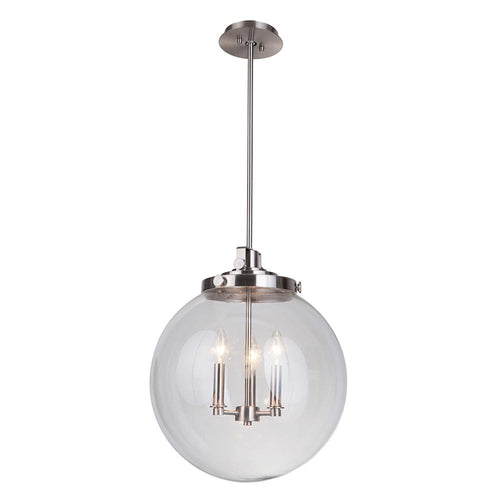 Mariana Home - Globe 3 Light Pendant - Brushed Nickel Finish - 101645