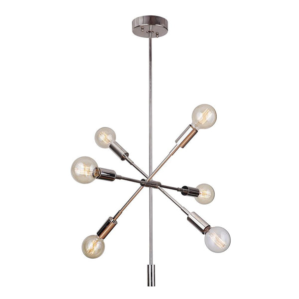 Mariana Home - Ellis 6 Light Chandelier - Polished Nickel Finish