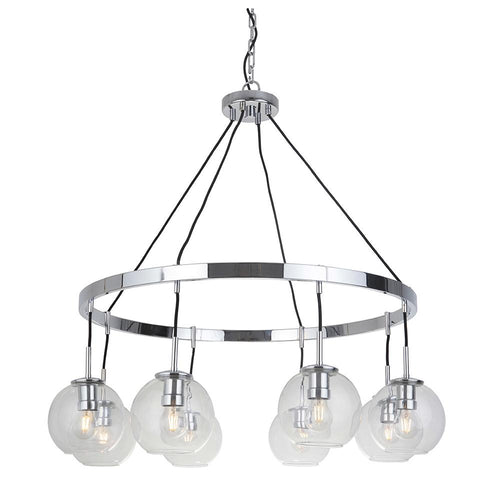 Fortune 8 Light Chandelier - Chrome Finish