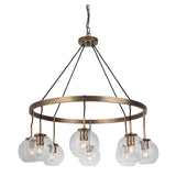 Fortune 8 Light Chandelier - Antique Brass Finish