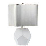 Mariana Home - Gia Table - White Glass and Silver Leaf Finish