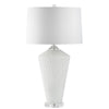 Mariana Home - Flora Table Lamp - White Glass, Acrylic Neck, And Crystal Base