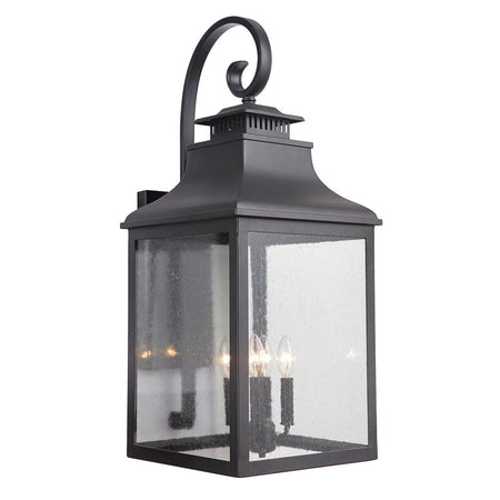 Crandall 3 Light Outdoor Hanging Lantern - Black