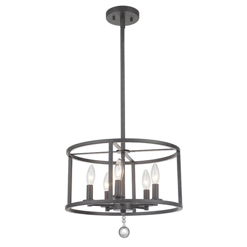 Mariana Home - Swindell 5 Light Semi Flush Mount - Black Iron Finish