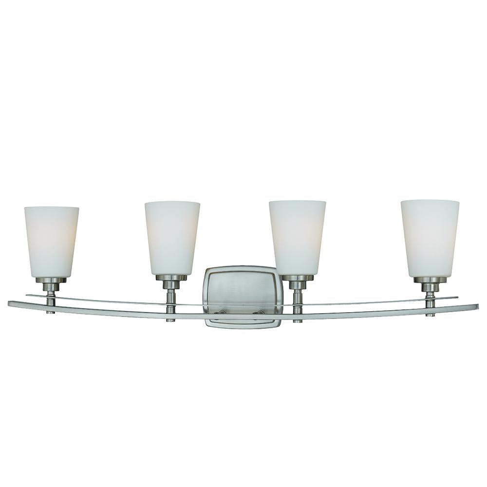 Salerno 4 light vanity strip satin nickel