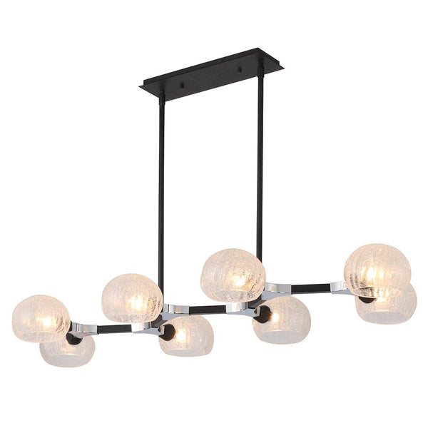 Mariana Home - Knowles 8 Light Island Pendant - Black + Chrome