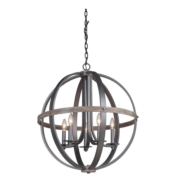 Mariana Home - Portland 5 Light Pendant Chandelier - Wood and Aged Iron Finish