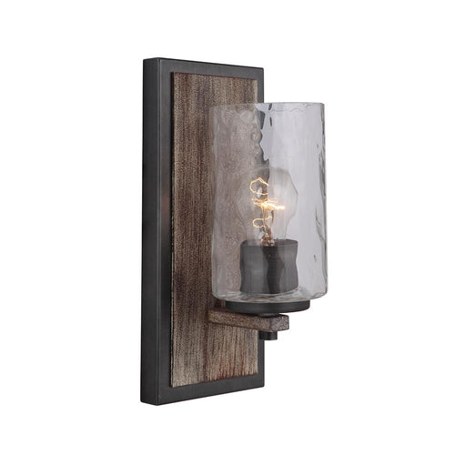 Mariana Home - Portland 1 Light Wall Sconce - Aged Iron and Wood Finish