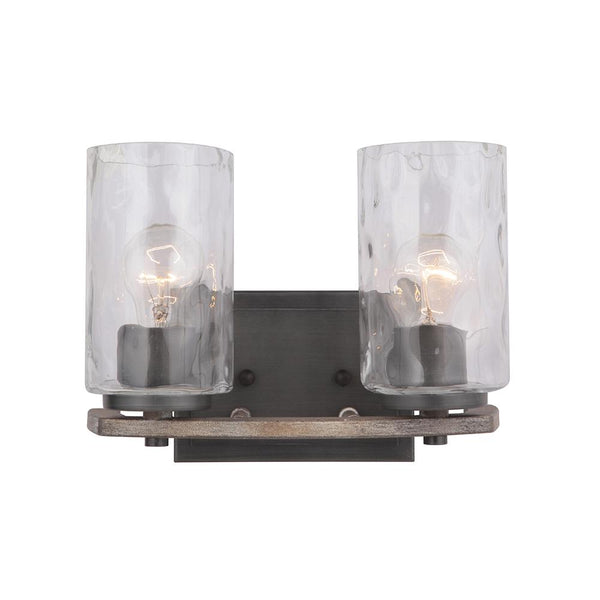 Mariana Home - Portland 2 Light Vanity - Aged Iron and Wood Finish