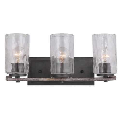 Mariana Home - Portland 3 Light Vanity - Aged Iron and Wood Finish
