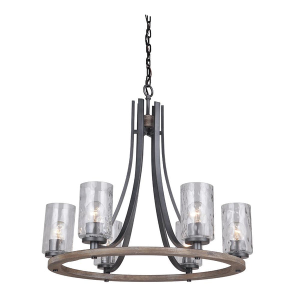 Mariana Home - Portland 6 Light Chandelier - Wood and Aged Iron Finish