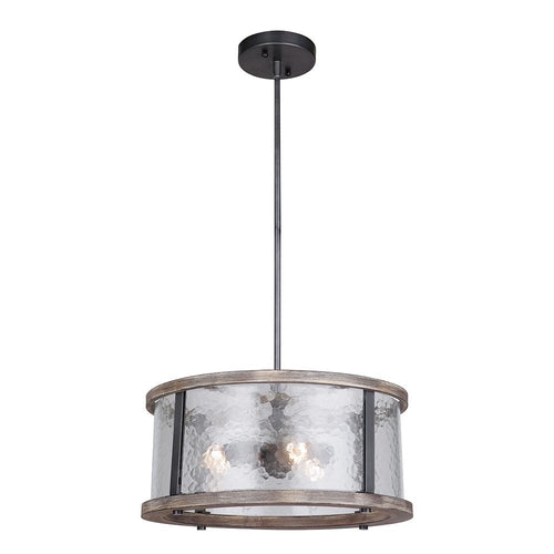 Mariana Home - Portland 3 Light Dual Mount Pendant - Wood and Aged Iron Finish