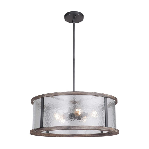 Mariana Home - Portland 5 Light Dual Mount Pendant - Wood and Aged Iron Finish