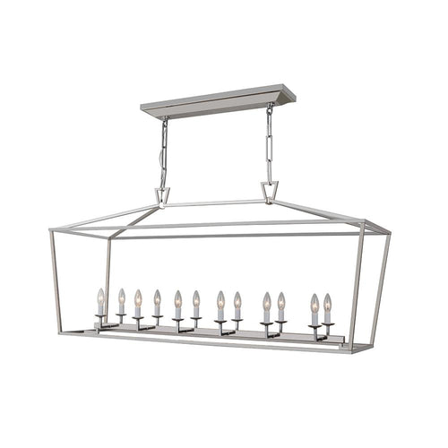 Wyclif 12 Light Island Pendant - Satin Nickel Finish
