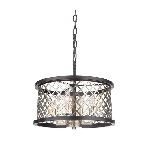 Mariana Home - Aiden 4 Light Pendant - Antique Silver Leaf and Urban Bronze Finish