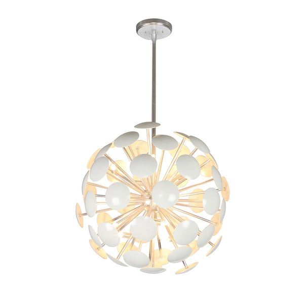 Mariana Home - Anika 10 Light Pendant - White + Silver Finish