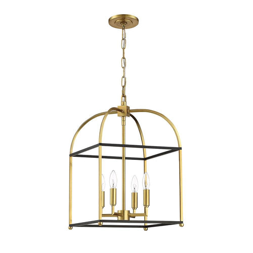 Mariana Home - Archer 4 Light Lantern - Black + Brass Finish
