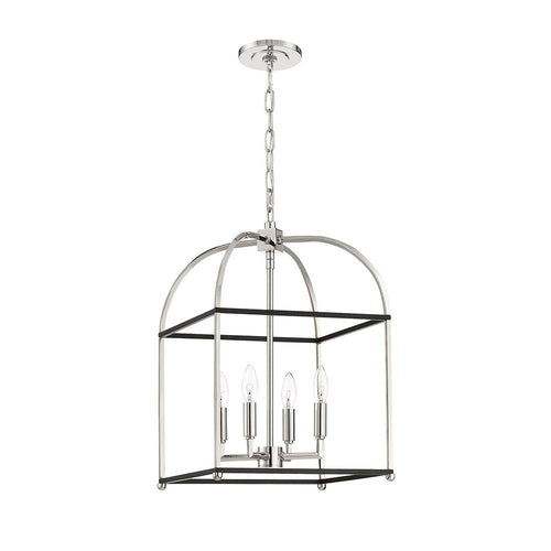 Mariana Home - Archer 4 Light Lantern - Black + Polished Nickel Finish