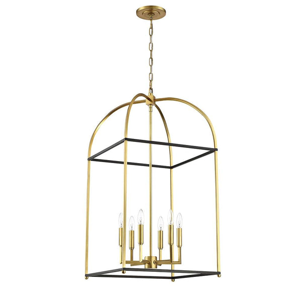 Mariana Home - Archer 6 Light Lantern - Black + Brass Finish