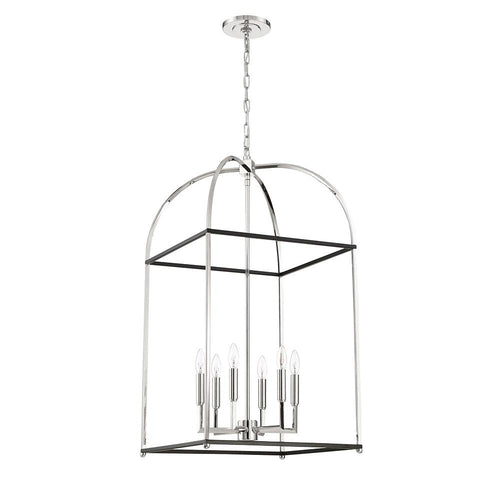Mariana Home - Archer 6 Light Lantern - Black + Polished Nickel Finish