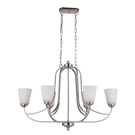 Skyler 6 Light Island Chandelier - Silver Leaf