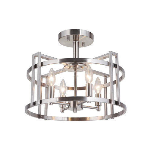 Mariana Home - Carmen 4 Light Semi Flush Mount - Brushed Nickel Finish