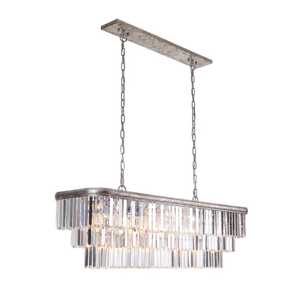 Mariana Home - Art Deco Island Chandelier - Silver Leaf Finish